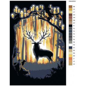 Раскладка Лесной гость Раскраска по номерам на холсте Живопись по номерам ZAKAZ023