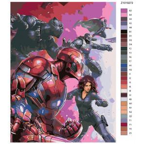 Раскладка Сражение героев Раскраска по номерам на холсте Живопись по номерам Z1019272