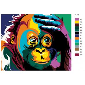Схема Удивление радужной обезьяны Раскраска по номерам на холсте Живопись по номерам PA129