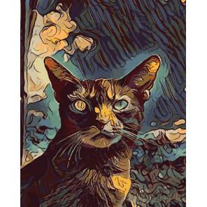 Кот осенью Раскраска картина по номерам на холсте Z-4527