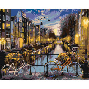 Прогулка по вечернему городу Раскраска картина по номерам на холсте KTMK-653201