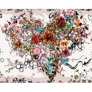 раскладка Цветущее сердце Раскраска картина по номерам на холсте