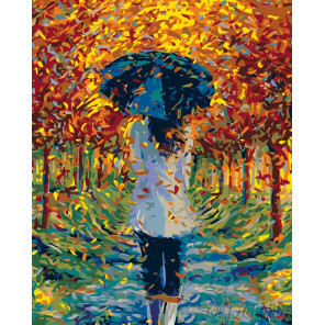 раскладка Прогулка в листопад Раскраска картина по номерам на холсте