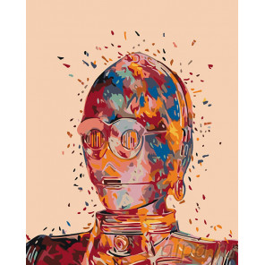Радужный робот Раскраска картина по номерам на холсте KTMK-95317