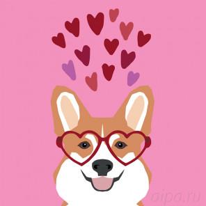 Влюбленный пес Раскраска картина по номерам на холсте A470