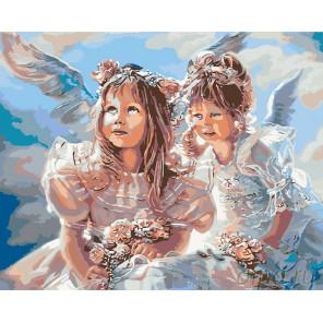 Ангелочки с цветами Раскраска картина по номерам на холсте KTMK-03112