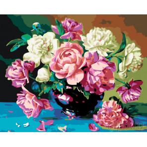 Букет из пионов Раскраска картина по номерам на холсте KTMK-90437