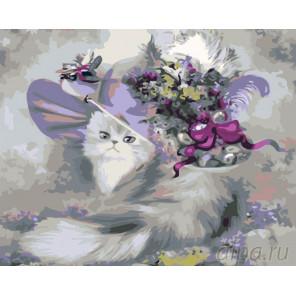 Кошечка в шляпке Раскраска картина по номерам на холсте KTMK-95821