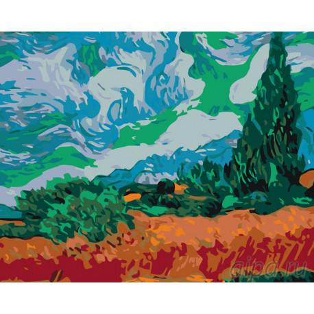 Поле с кипарисами Раскраска по номерам на холсте Живопись по номерам KTMK-69657