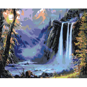 Раскладка Пейзаж с водопадом Раскраска по номерам на холсте Живопись по номерам KTMK-97697