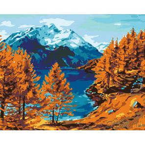 Раскладка Осень на горном озере Раскраска по номерам на холсте Живопись по номерам KTMK-12589