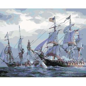 Раскладка Морское сражение Раскраска по номерам на холсте Живопись по номерам KTMK-49875