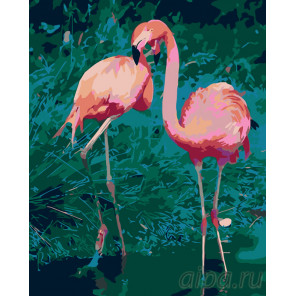 схема Танец фламинго Раскраска по номерам на холсте Живопись по номерам RA243