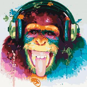 Схема Шимпанзе-меломан Раскраска картина по номерам на холсте KTMK-32882463387