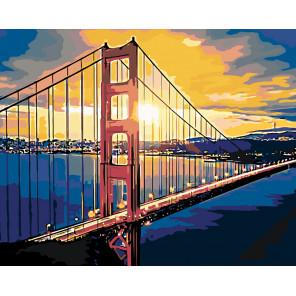 Пейзаж с мостом Раскраска по номерам на холсте Живопись по номерам Z5037