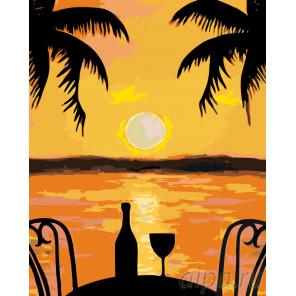 Закат на побережье Раскраска по номерам на холсте Живопись по номерам RO84