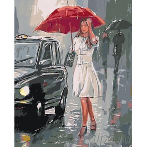 Девушка под дождем Раскраска по номерам на холсте Живопись по номерам RO89