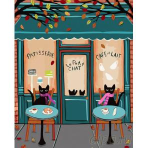Кошечки в кафе Раскраска по номерам на холсте Живопись по номерам A442