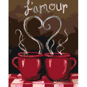 Кофе с любимым Раскраска по номерам на холсте Живопись по номерам RO69