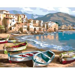 Лодки на побережье Раскраска картина по номерам на холсте KTMK-19725