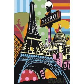 Радужный Париж Раскраска картина по номерам на холсте PA131