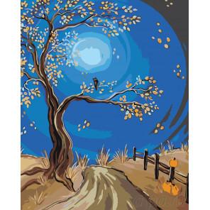 Дорога при луне Раскраска картина по номерам на холсте RA229