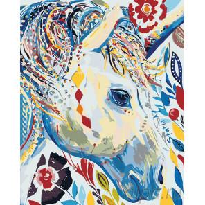 раскладка Белый единорог Раскраска картина по номерам на холсте