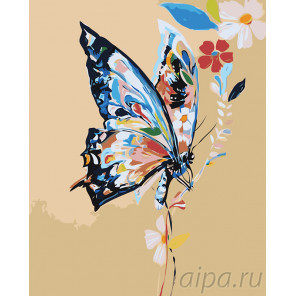 раскладка Бабочка в цветах Раскраска картина по номерам на холсте