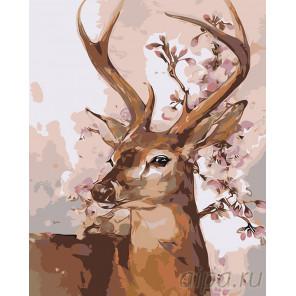 раскладка Олень весной Раскраска картина по номерам на холсте