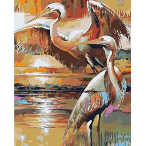 Цапли на озере Раскраска картина по номерам на холсте
