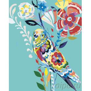 Попугай в цветах Раскраска картина по номерам на холсте A473