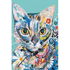 Кот в цветочном узоре Раскраска картина по номерам на холсте A484