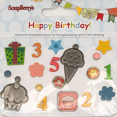С днем рождения Набор декоративных брадсов Scrapberry's