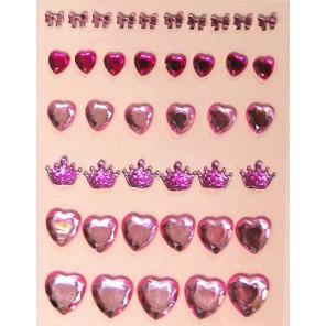 Сердечки и короны розовые Камушки клеевые для скрапбукинга, кардмейкинга Рукоделие
