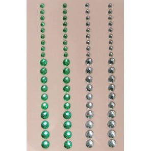 Зеленые и серебристые Стразы самоклеющиеся для скрапбукинга, кардмейкинга Рукоделие