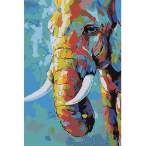 Макет Разноцветный слон Раскраска картина по номерам на холсте A501