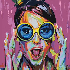 Круглые очки Раскраска картина по номерам на холсте RO126