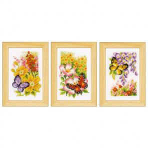 Цветы и бабочки Набор для вышивания триптиха VERVACO PN-0155954