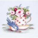 Птичка и чашка чая Набор для вышивания Luca-S B2324