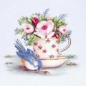 Птичка и чашка чая Набор для вышивания Luca-S BA2324