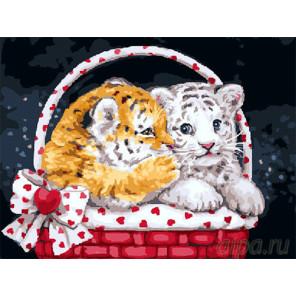 Тигрята в корзине Раскраска картина по номерам на холсте EX5195