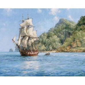 Корабль у берега Раскраска картина по номерам на холсте GX23657