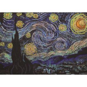 В рамке Звездная ночь по картине Ван Гога Алмазная вышивка термостразами Преобрана 0116