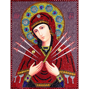 Семистрельная икона Божьей Матери Алмазная вышивка термостразами Преобрана 0055