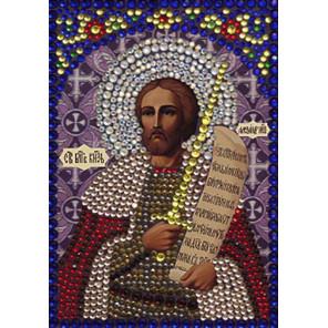 Святой Александр Невский Алмазная вышивка термостразами Преобрана 0301