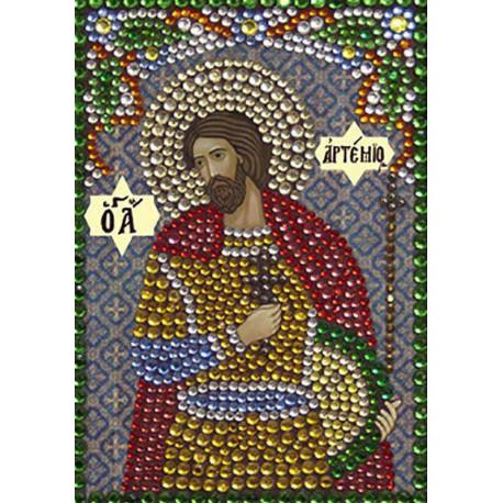 Святой великомученик Артемий Алмазная вышивка термостразами Преобрана 0303
