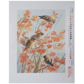 Раскладка и ключ - рекомендуемые номера мулине Свиристели Канва с рисунком для вышивки Матренин посад