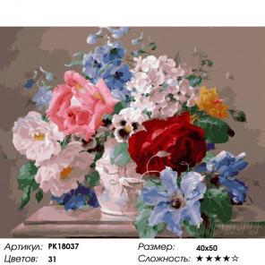 Количество цветов и сложность Цветочное разнообразие Раскраска картина по номерам на холсте PK18037