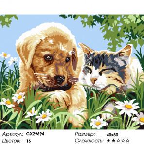 Количество цветов и сложность Друзья на прогулке Раскраска картина по номерам на холсте GX29694