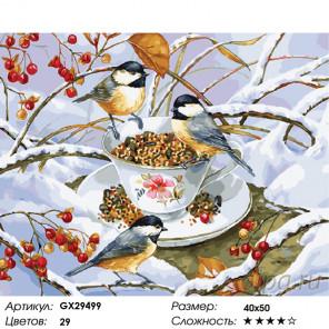 Количество цветов и сложность Зимние гости Раскраска картина по номерам на холсте GX29499